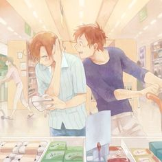 "Romano: ...*picks up the eggs ,then realizing Spain is right beside *""....what'da ya want .you jerk ?"""