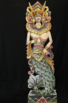 Mermaid star Wall hanging Panel Hand carved wood Bali Nautical art left