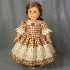~ CIVIL WAR CHARM ~ 1864 Brown Dress for AG Addy Cecile Marie Grace, by idreamofjeannemarie via eBay, SOLD 9/23/14  $65.00