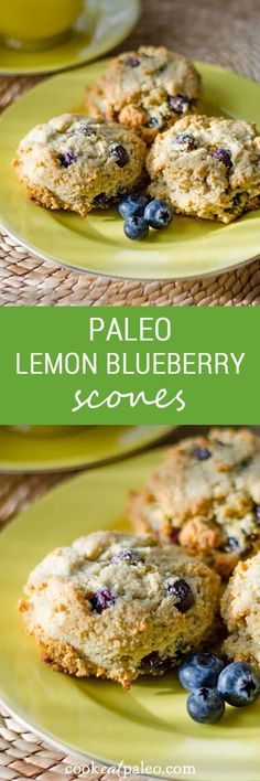These paleo lemon blueberry scones are gluten-free, grain-free, dairy-free and refined sugar-free. Perfect for breakfast with… These paleo lemon blueberry scones are gluten-free, grain-free, dairy-free and refined sugar-free. Perfect for breakfast with… Paleo Baking, Gluten Free Baking, Gluten Free Desserts, Dairy Free Recipes, Low Carb Recipes, Whole Food Recipes, Paleo Bread, Paleo Scone, Paleo Muffin Recipes