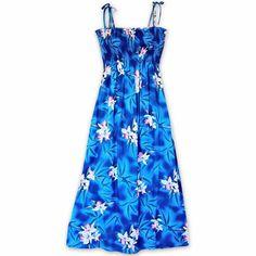 Poipu Blue Maxi Hawaiian Dress  #madeinhawaii #hawaiian