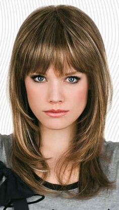 Vintage Hairstyles With Bangs Human Hair Medium Length Capless Wig with Full Bangs - Find Your Perfect Human Hair Medium Length Capless Wigs with Full Bangs With Lowest Price High Quality. Full Bangs Hairstyle, Haircuts With Bangs, Short Hairstyles For Women, Vintage Hairstyles, Bob Hairstyles, Wedding Hairstyles, Hairstyles For Medium Length Hair With Bangs, Beautiful Hairstyles, Medium Hair Cuts