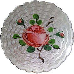 Vintage Sterling Enamel Guilloche Norway Holt Rose Brooch