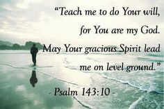 Psalm 143:10 (KJV) Teach me to do thy will; for thou art my God: thy spirit is good; lead me into the land of uprightness.