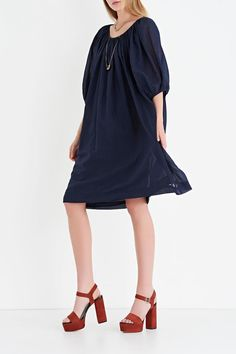 Deep Navy Blue beach dress with ruffled neckline. The extra lightweight cotton muslin and the wide soft volumes of the elbow-length sleeves make the dress undisputed protagonist of the summer wardrobe. A versatile look as it can be worn with jeans and a belt at waist or simply with suede sandals.  Comes with a matching slip dress. Cotton Muslin Dress by Ottod'ame. Clothing - Dresses - Casual Atwater Village Los Angeles California