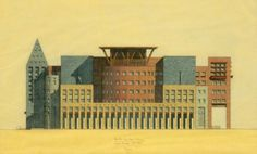 Often Graves's tableware takes on the proportions of a building. In turn, buildings are often simplified to the level of tableware. Above: Denver Central Library, South Facade (1993). Image Courtesy of Michael Graves & Associates