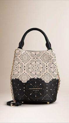 Off white The Small Bucket Bag in Perforated Leather - Burberry Burberry Handbags, Tote Handbags, Purses And Handbags, Best Bags, Beautiful Bags, My Bags, Fashion Bags, Leather Bag, Hermes