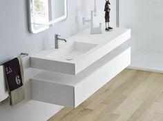 UNICO Lavabo avec plan intégré by Rexa Design design Imago Design Slate Bathroom, Bathroom Counter Decor, Bathroom Sink Design, Bathroom Furniture, Modern Bathroom, Neutral Bathroom, Bathroom Ideas, Bathroom Wall, Countertop Redo