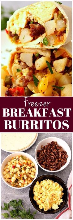 Freezer Breakfast Burritos Recipe - easy meal prep breakfast idea! Sausage, egg and potato filled burritos are freezer-friendly and filling breakfast for busy days!