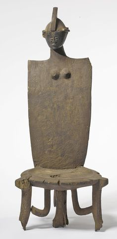 Africa | Throne from the Luguru people of Tanzania | Wood; aged varied brown patina with residue
