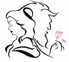 Beauty and the beast disney drawings image. Disney Beast, Disney Beauty And The Beast, Disney Tattoos Beauty And The Beast, Simple Disney Tattoos, Beauty And The Beast Drawing, Art Disney, Disney Fantasy, Disney Drawings, Art Drawings
