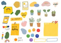 Emoji Stickers, Printable Stickers, Cute Stickers, Doodle Drawings, Cute Drawings, Doodle Art, Journal Stickers, Planner Stickers, Note Doodles