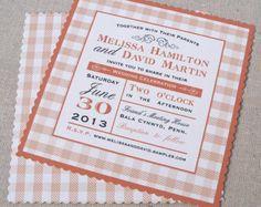 Gingham wedding invitation,  picnic wedding, country wedding, tea party invitations, set of 25
