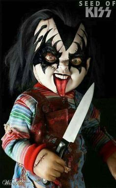 Chucky: Seed of Kiss. I love Chucky and love KISS. The perfect combination 🔪 Horror Movie Characters, Best Horror Movies, Horror Films, Scary Movies, Arte Horror, Horror Art, Childs Play Chucky, Rock Poster, Kiss Art