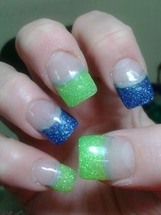 Had to get my nails done in Seahawks colors!