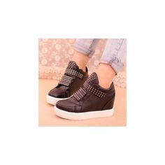 Studded High Top Platform Sneakers (340 NOK) ❤ liked on Polyvore featuring shoes, sneakers, footware, black platform shoes, hidden wedge sneakers, studded sneakers, platform sneakers and high top platform sneakers