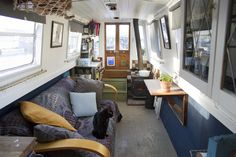 A selection of drawings and sketches from the journal of Illustrator Maisie Noble Canal Barge, Canal Boat, Barge Interior, Best Interior, Houseboat Living, Houseboat Ideas, Exterior Doors, Interior And Exterior, Slow Boat To China