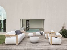 Upholstered Garden Armchair With Armrests CLOUD Cloud Collection By  Meridiani