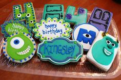Monster's Inc. decorated cookies for a kid's 4th birthday party www.facebook.com/cookiesbycharity