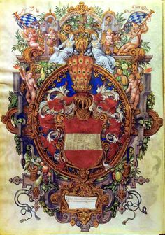 Cipriano de Rore;1559,Munchen  Obviously amazingly detailed. Don't you just love the simplicity of the arms of Austria contrasted with the complexity of the external artwork?