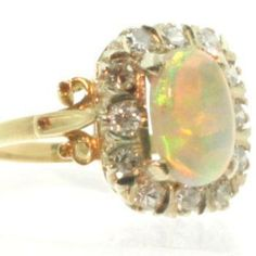 Victorian c1890 18ct Gold Opal and Diamond Engagement Ring | eBay