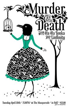Murder by Death Atlanta Show  Gig poster for Murder by Death by Sarah Watts