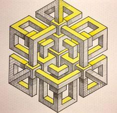 Afbeeldingsresultaat voor escher polyhedron with flowers Illusion Drawings, Illusion Art, Op Art, Isometric Drawing, Graph Paper Art, Mandala, Math Art, Geometry Art, Hippie Art