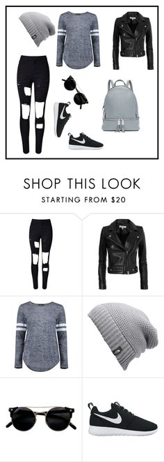 """""""Untitled #10"""" by emminna ❤ liked on Polyvore featuring WithChic, IRO, Boohoo, The North Face, NIKE and MICHAEL Michael Kors"""