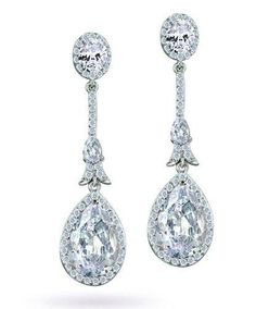 Bling Jewelry Bridal Silver Plated CZ Teardrop Long Drop Earrings