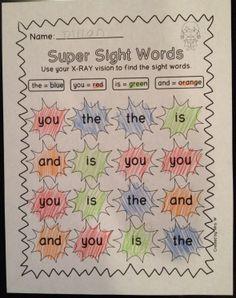 Superhero Literacy and Math Printables - Super Sight Words