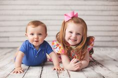 siblings in easter outfits in portrait studio