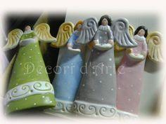 Angeli in ceramica, decorati a mano, personalizzabili