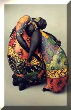 """""""Mended Hearts"""" by Patricia Boyd Gourd Sculpture African American Art, African Art, Decorative Gourds, African Sculptures, Painted Gourds, Art Sculpture, Black Artists, Gourd Art, Tribal Art"""