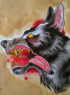 traditional tattoos | Traditional tattoo ' Wolf ' by Psychoead