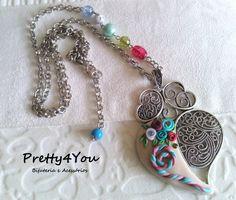 Fio longo coração de Viana em Polymer Clay - Pretty4You Bijuteria.