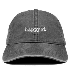 cheap for discount 9e255 dadfd Happyaf Embroidered Pigment Dyed Washed Cotton Cap - Black - CK12KIK6JXZ