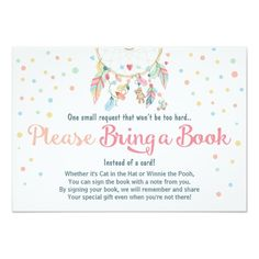 BRING A BOOK Pastel Colorful Boho Feathers Dreamcatcher Chic Dots BABY SHOWER Invites Announcements Invitations