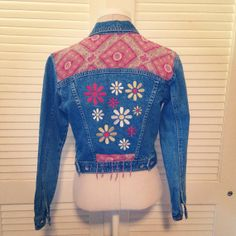 Boho Hand Embellished Denim Jacket by FrolicExchange on Etsy, $36.00