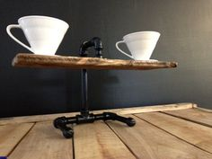 Handcrafted Wood and Steel Pour Over Coffee Brewing by BrewWorks.  I need to make one of these!
