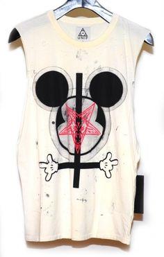 SICK. Ok, let me break it down: Mickey ears=Mind Control/BrainWashing, Upside down Cross= Satanism, horned hands= Hail Satan.. Pentagram in the middle= Star of Satan..