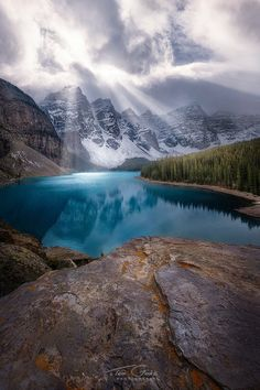 Moraine's Mood - by Ted Gore - (Moraine Lake, Banff, Alberta) Places Around The World, Around The Worlds, Beautiful World, Beautiful Places, Beautiful Scenery, Places To Travel, Places To Visit, Design Spartan, Magical Pictures