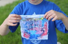 Combine science and art using acrylic paint and glue to make beautiful batiks.