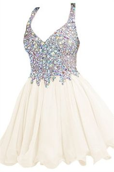 Chiffon Homecoming Dresses Straps Crystal Mini Cocktail                                                                                                                                                      More