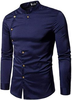 Countia Men Button Blouse Casual Long Sleeve Turn-Down Collar Slim Tops Casual Button-Down Shirts African Shirts For Men, African Dresses Men, African Clothing For Men, Mens Clothing Styles, Nigerian Men Fashion, Indian Men Fashion, Mens Fashion Suits, Stylish Shirts, Casual Button Down Shirts