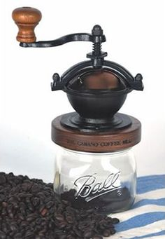 From the Amish toystore that is Lehman's comes this wonderfully tactile canning jar coffee grinder. Plug it onto the top of any Mason, Ball, or other canning jar, and grind away.