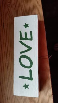 Love Hand Painted Wood Shelf Sitter by SignsandDesignsbyAMA on Etsy