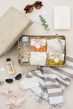 WEDDING WELCOME GIFTS// Peach and beige beach inspired wedding welcome gift boxes with turkish towel custom designed for Dominican Republic destination wedding, curated by Marigold & Grey. Wedding Welcome Gifts, Wedding Gifts For Guests, Wedding Favors, Custom Gift Boxes, Customized Gifts, Personalized Gifts, Bridesmaid Baskets, Welcome Baskets, Gift Baskets