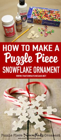 Make a sweet snowflake ornament using puzzle pieces and and some white craft paint! Make it shine with some sparkle mod podge! Recycled Christmas Decorations, Christmas Crafts For Kids, Simple Christmas, Kids Christmas, Holiday Crafts, Holiday Fun, Christmas Snacks, Christmas Projects, Puzzle Piece Crafts