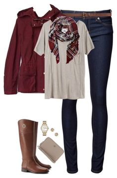 """""""Deep red, tan & plaid"""" by steffiestaffie ❤ liked on Polyvore featuring Naked & Famous, H&M, Gap, Mlle Mademoiselle, Tory Burch, Dorothy Perkins and Marc by Marc Jacobs"""