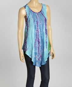 Another great find on #zulily! Teal Tie-Dye Swing Top - Women by Sol Clothing #zulilyfinds